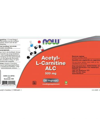 NOW Acetyl-L-Carnitine 500 mg (50 vegicaps)