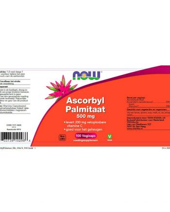 NOW Ascorbyl Palmitaat 500 mg (100 vegicaps)