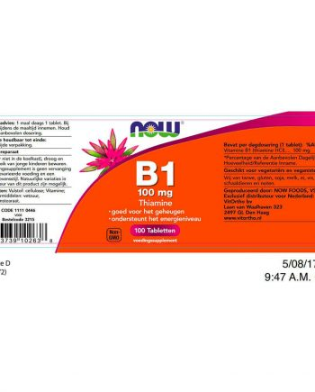 NOW B1 100 mg (100 tabletten)