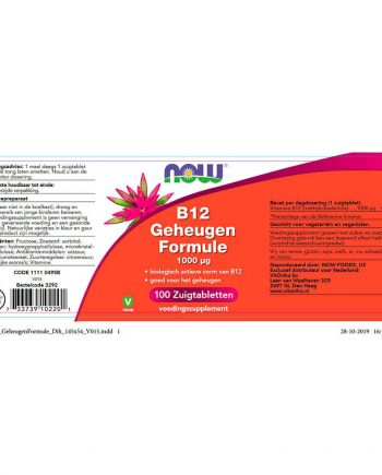 NOW B12 Geheugen Formule 1000 µg (100 tabletten)