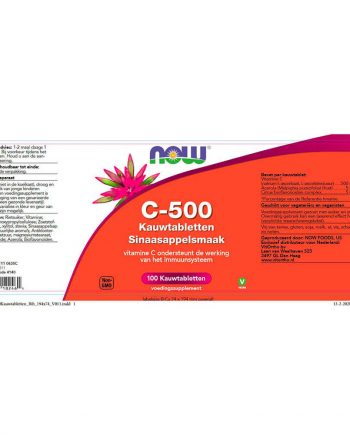 NOW C-500 Sinaasappel (100 tabletten)