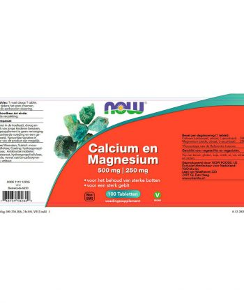 NOW Calcium 500 mg en Magnesium 250 mg (100 tabletten)