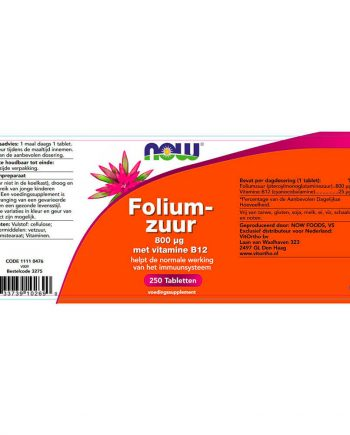 NOW Foliumzuur 800 µg (250 tabletten)