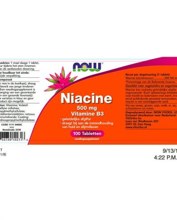 NOW Niacine 500 mg Vitamine B3 (100 tabletten)