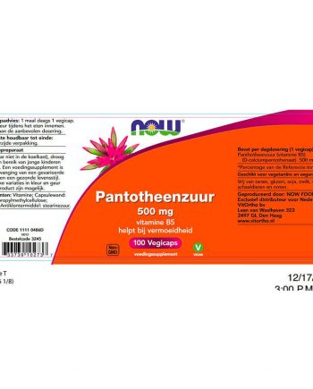 NOW Pantotheenzuur 500 mg B5 (100 vegacaps)
