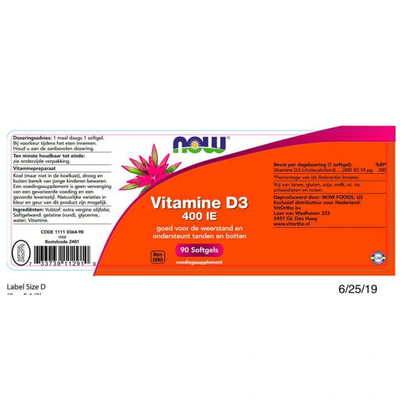 NOW Vitamine D3 400 IE (90 softgels)