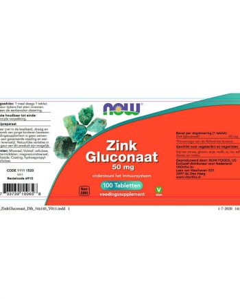 NOW Zink Gluconaat 50 mg (100 tabletten)