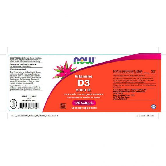 NOW Vitamine D3 2000 IE (120 softgels)