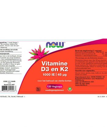 NOW Vitamine D3 en K2 – 1000 IE (120 vegicaps)