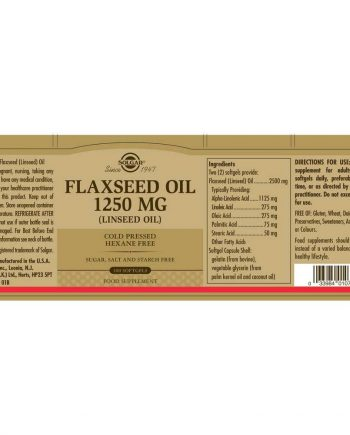 Solgar Cold Pressed Flaxseed Oil wikkel